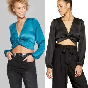 Wild Fable Satin Twist Front Tops Teal & Black XL